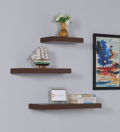 Floating Wall Shelf Set Of 3 In Walnut Finish