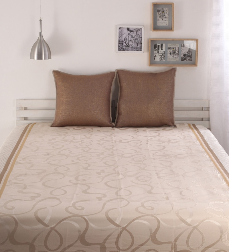 Beige Poly Cotton Bed Cover without Pillow Cover by Dreamscape