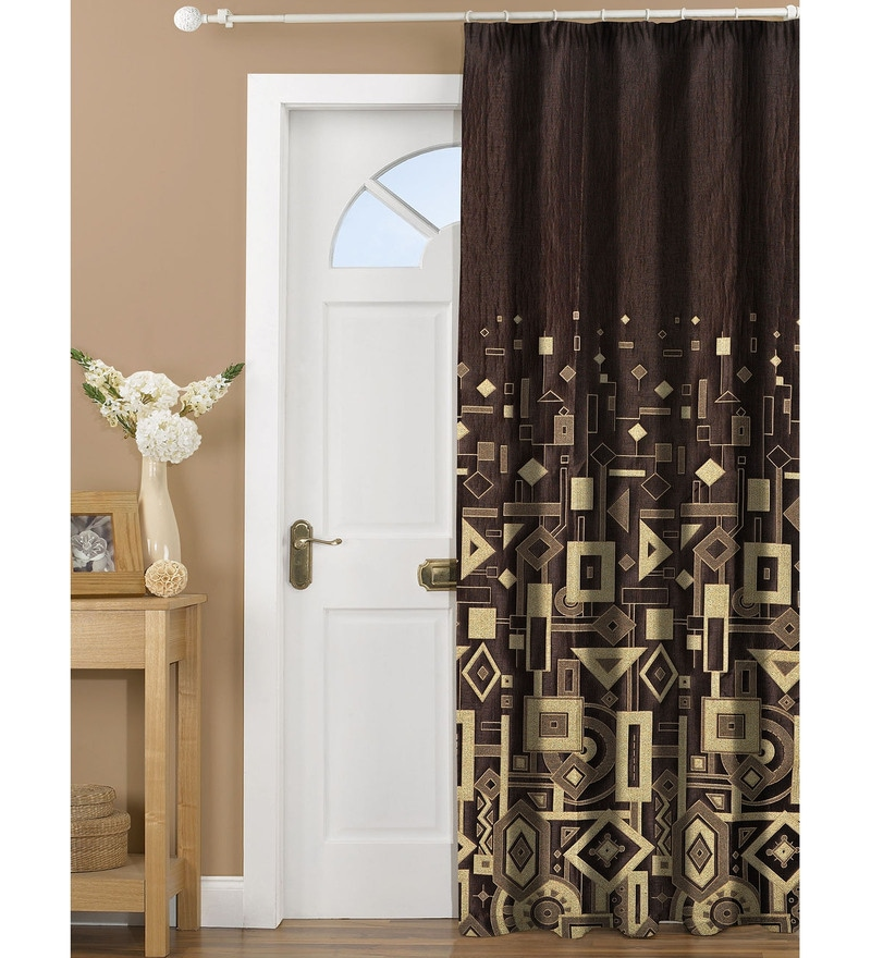 Brown Polyester 84 x 48 Inch Geometric Door Curtains- Set of 2 by Dreamscape