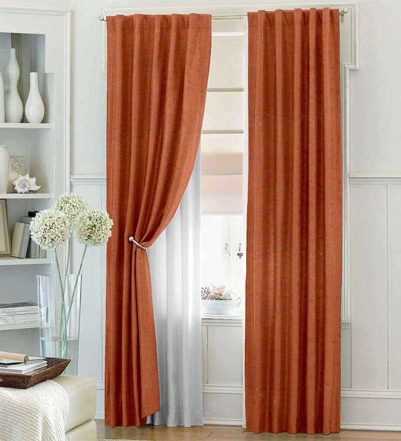 Dreamscape Brown Polyester Floral 108x94 INCH Door Curtain - Set of 1