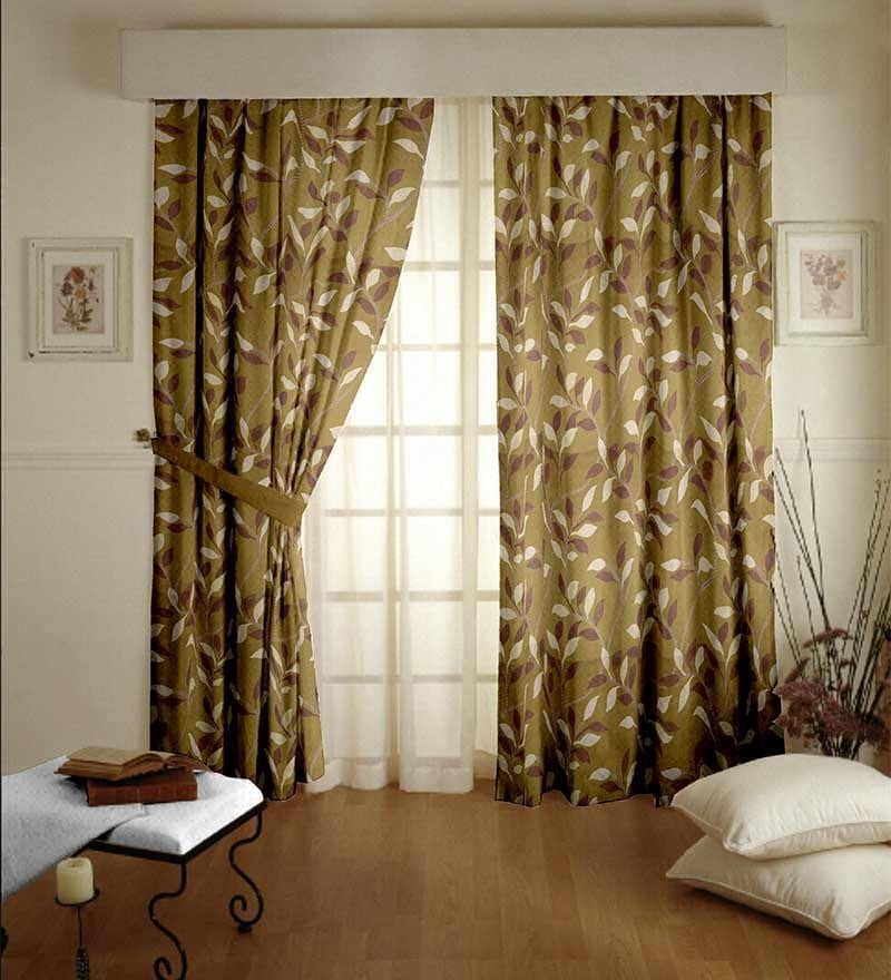 Dreamscape Green Polyester Floral 108x94 INCH Curtain - Set of 1