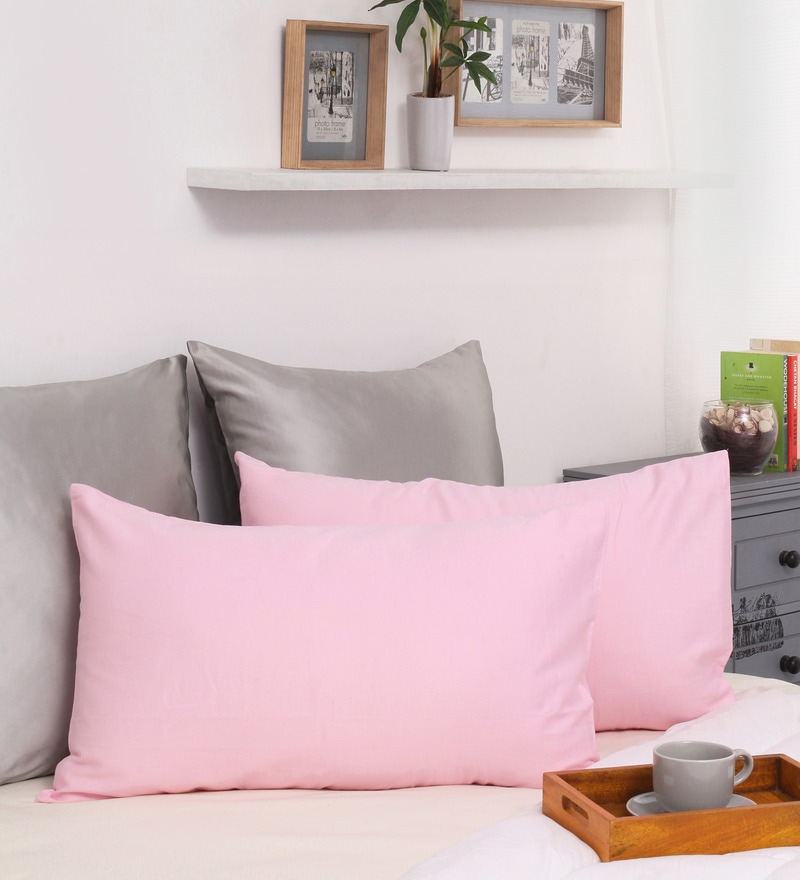 Pink Cotton 27 x 17 Inch Pillow Cover - Set of 2 by Dreamscape