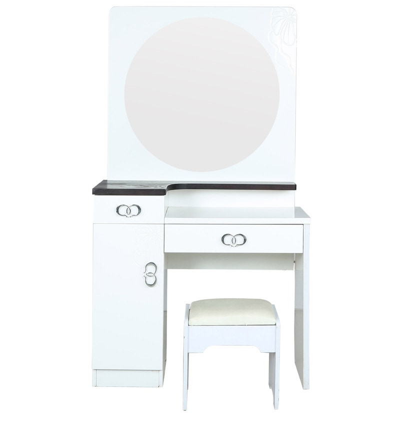 Buy Iowa Dressing Table With Stool In White Duco Paint By