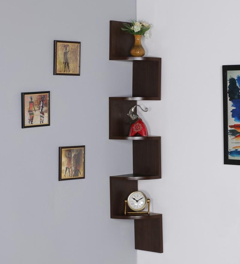 Walnut MDF Rich Walnut Zigzag Shape Corner Wall Shelf by DriftingWood