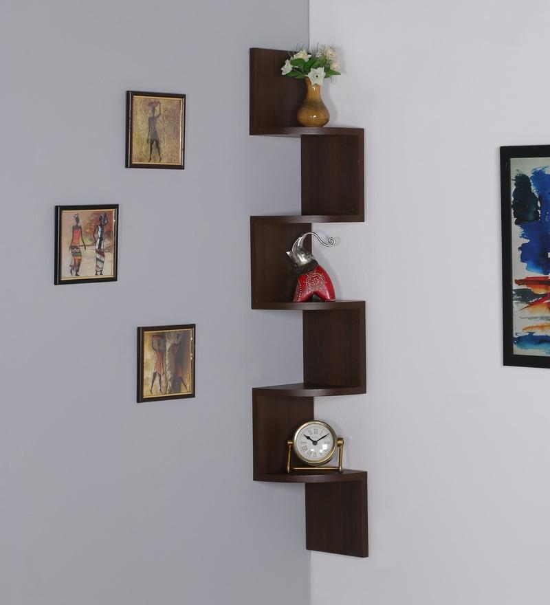 Amazing MDF Caf Tulip Zigzag Shape Corner Wall Shelf By DriftingWood