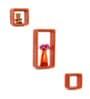 DriftingWood Orange MDF Cube & Rectangle Wall Shelf - Set of 3