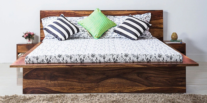 Duvall Queen Bed with Bedside Tables in Provincial Teak Finish by Woodsworth