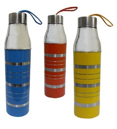 Dynore Stainless Steel 1000 ML Colourful Insulated Hot & Cold Water Bottles - Set Of 3