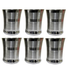 Dynore Stainless Steel Peach Drinking Glasses - Set Of 6