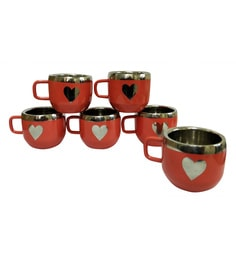 Dynore Stainless Steel Red Warm Apple Cups With Heart Shape - Set Of 6