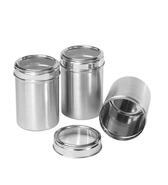 Dynore Stainless Steel Round 1000 Ml Canisters - Set Of 3