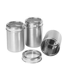 Dynore Stainless Steel Round 2500 Ml Canisters - Set Of 3