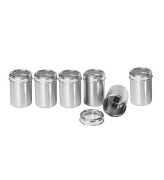 Dynore Stainless Steel Round 3000 Ml Canisters - Set Of 6