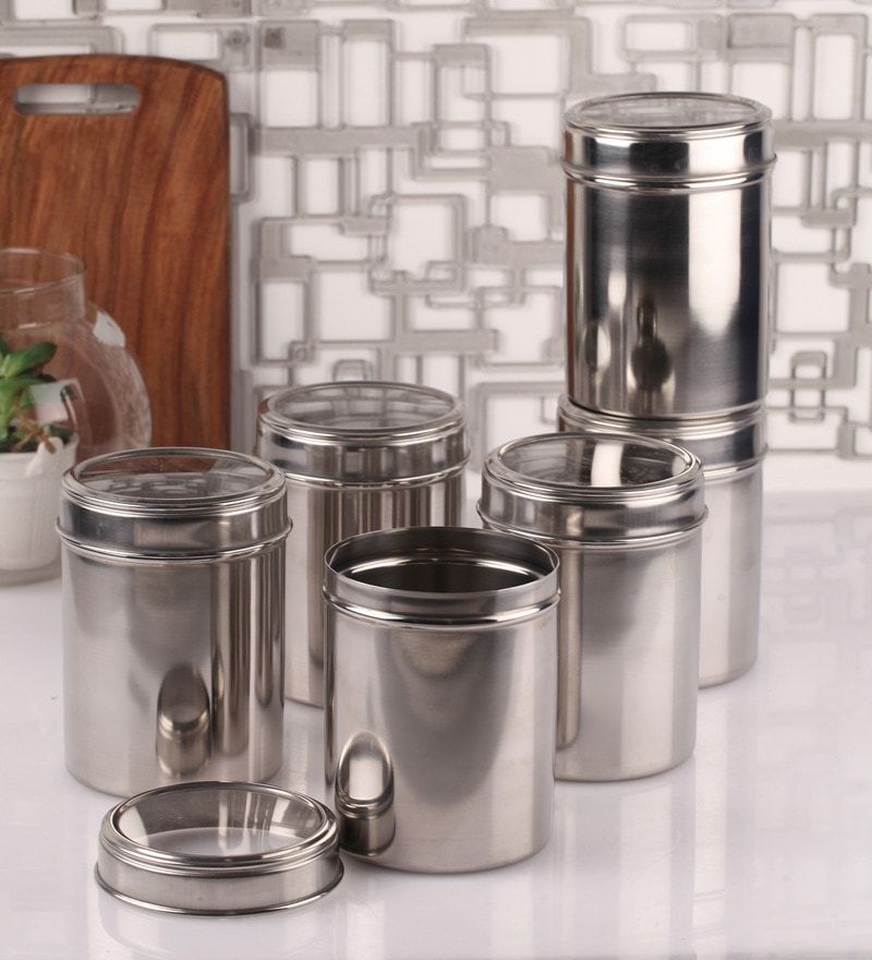 Dynore See Through Steel Round 1.25 L Storage Canister - Set of 6