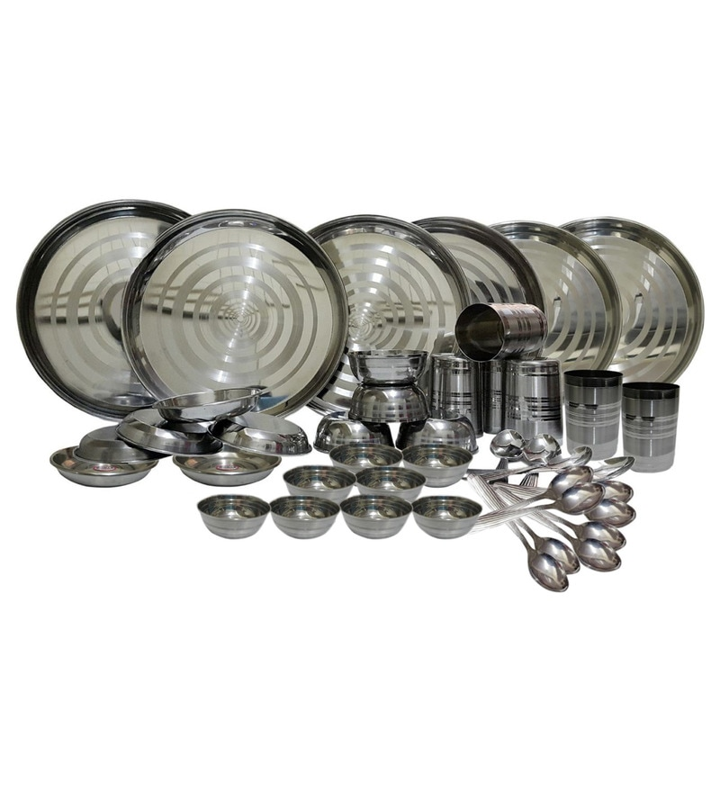 Stainless Steel Dinner Set - Set of 42 by Dynore
