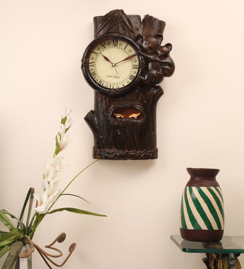 Brown Teak Wood 12 x 21 Inch Bumble Bee Cuckoo Clock by E-Studio