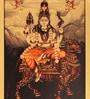 Multicolor  Metallic  finish PRINT on Paper  13 x 18 Inch Unframed Shiva with Vahana Artwork by E-Studio