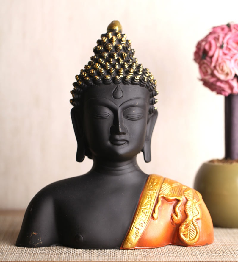Black & Orange Polyresin Half Body Buddha Statue by Earth