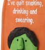 Multicolour Polyresin Quit Smoking & Drinking Bottle Quote Wall Hanging by Earth