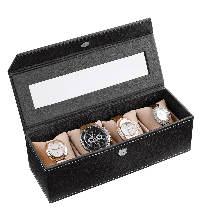 Leatherette Black 4-Case Watch Box by Ecoleatherette