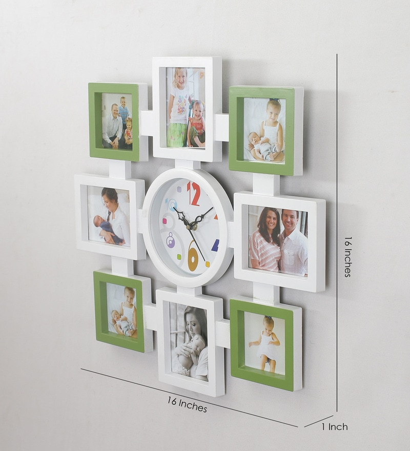 ... Frame With Wall Clock By. Green White Plastic Glass 16 X 1 Inch Family  Collage