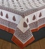 eCraftIndia Brown Cotton Floral Double Bed Sheet (with Pillow Covers) - Set of 3