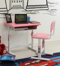Ein Kids Study Table & Chair Set In Pink & White Colour