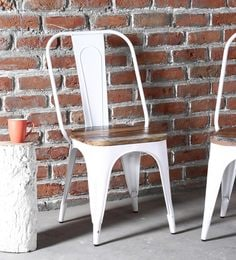 Ekati Metal Chair In White Color With Wooden Seat