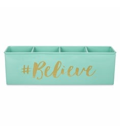 Elan Believe Powder Coated Steel Aqua All-In-One Stationery Organiser