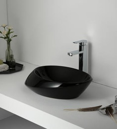 Elvera Art Table Top Wash Basin, Glossy Black Finish