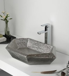 Elvera Art Table Top Wash Basin, White & Silver Finish