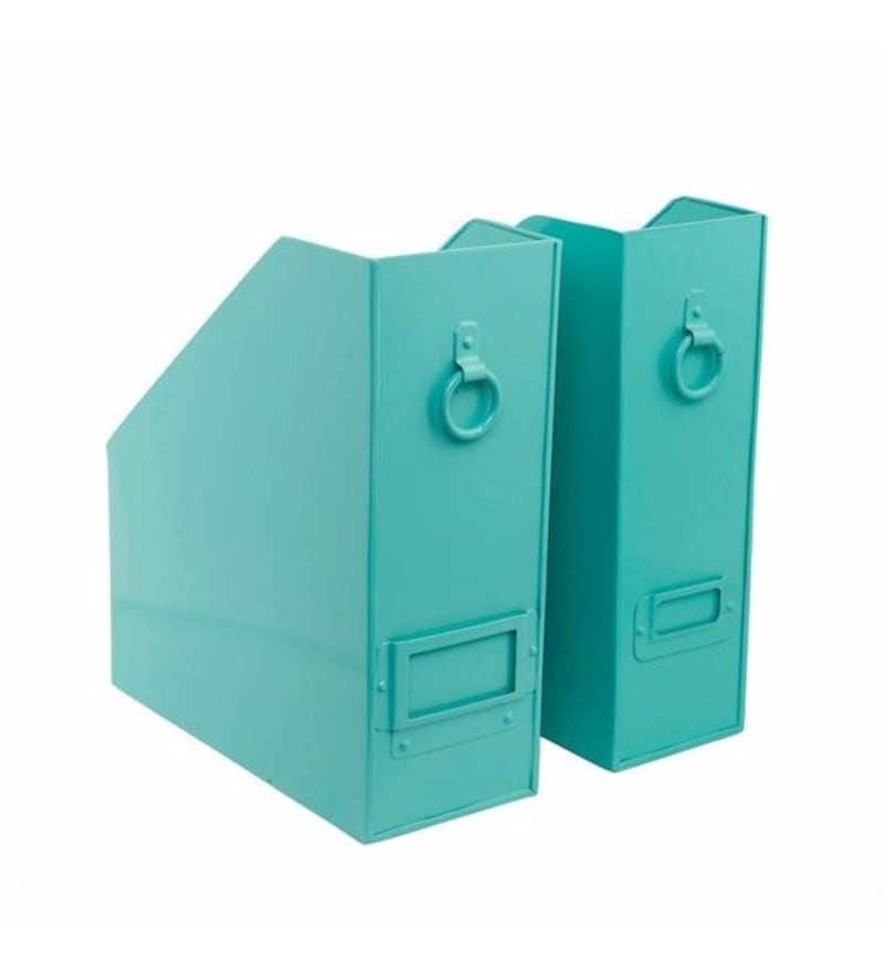 Elan Powder Coated Steel Aqua Method File & Magazine Holders - Set of 2