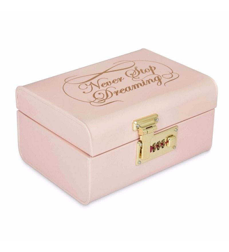 Elan Vintage Style Never Stop Dreaming Powder Coated Steel Powder Pink Storage Trunk with Lock