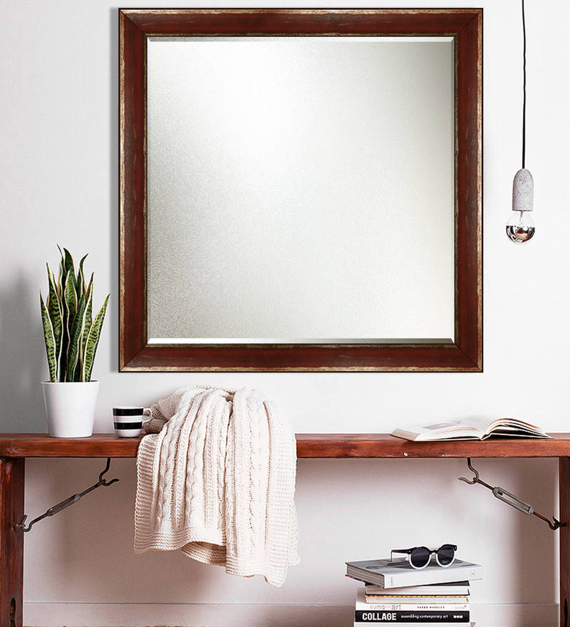 Brown Wooden Decorative Wall Mirror by Elegant Arts and Frames