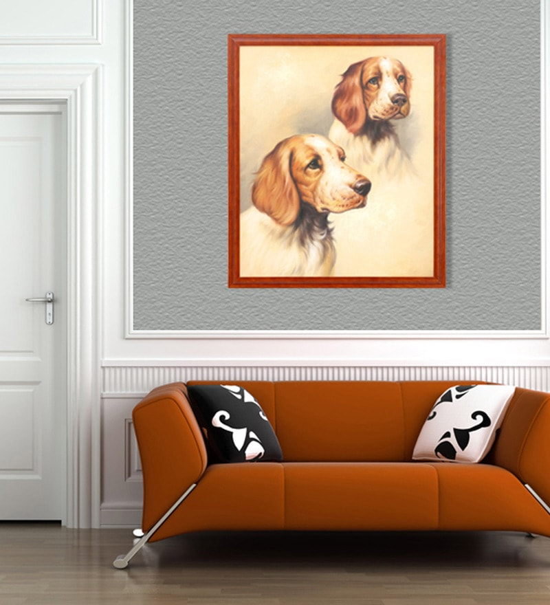 Canvas & Wood 22 x 1 x 26 Inch The Pets Framed Original Oil painting by Elegant Arts and Frames