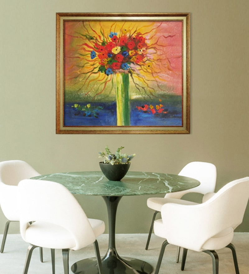 Canvas & Wood 31 x 1 x 26 Inch Vase of Flowers Framed Original Oil painting by Elegant Arts and Frames