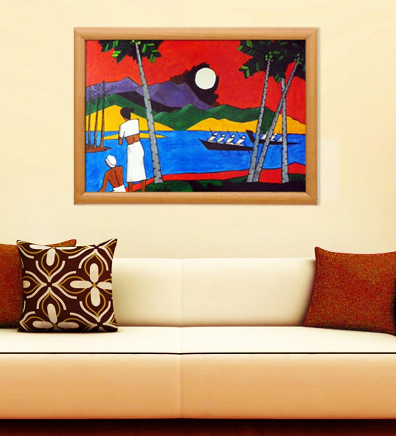 Canvas & Wood 38.5 x 1 x 27.5 Inch Kerala Landscape Framed Original Oil painting by Elegant Arts and Frames