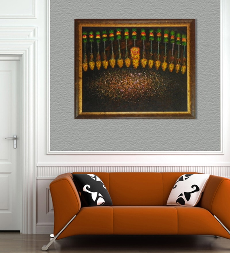 Canvas & Wood 42 x 1 x 36 Inch Thrissur Pooram Framed Original Oil painting by Elegant Arts and Frames