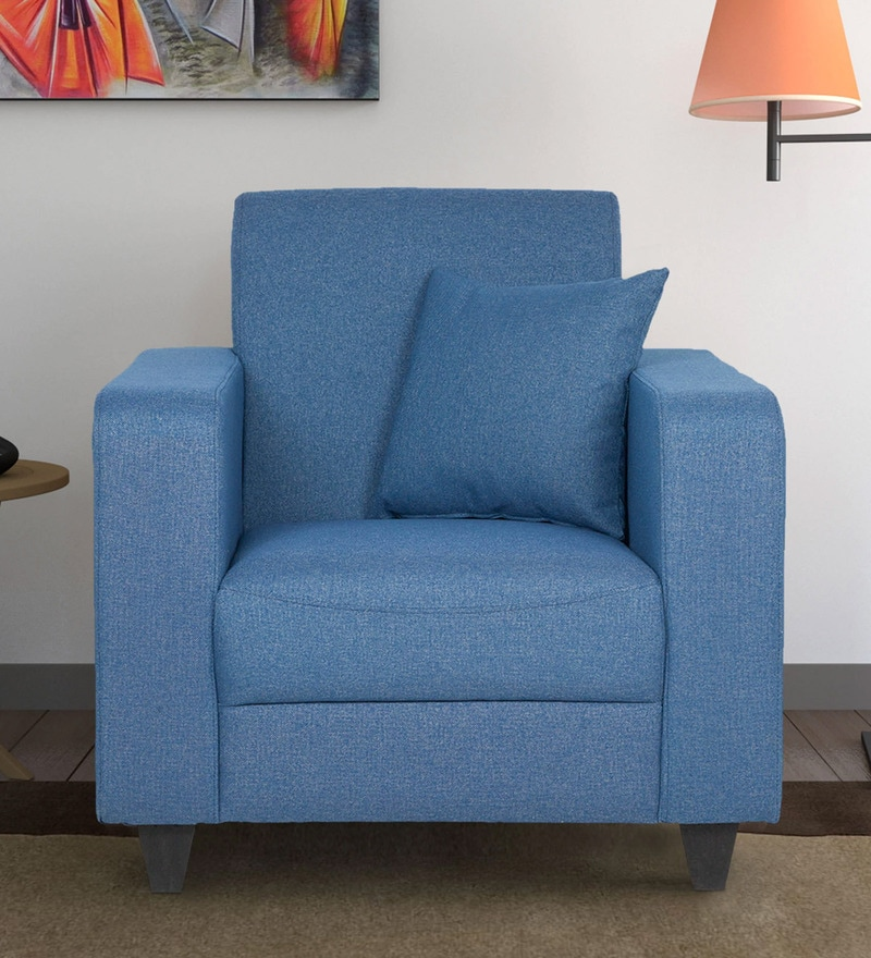 Elena One Seater Sofa with Throw Cushions in Blue Colour by CasaCraft
