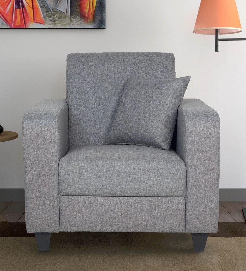 Elena One Seater Sofa with Throw Cushions in Grey Colour by CasaCraft