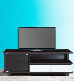 Entertainment Unit With Glass Door In Brown & Cream Colour By Karigar