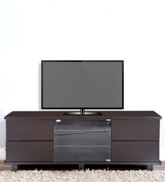 Entertainment Unit With Glass Door In Dark Brown Colour By Karigar