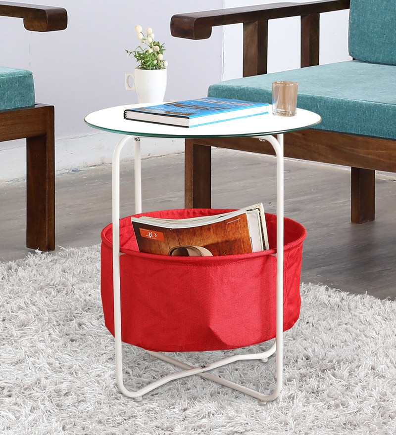 End Table with Glass Top & Fabric Shelf in White Finish by HomeTown