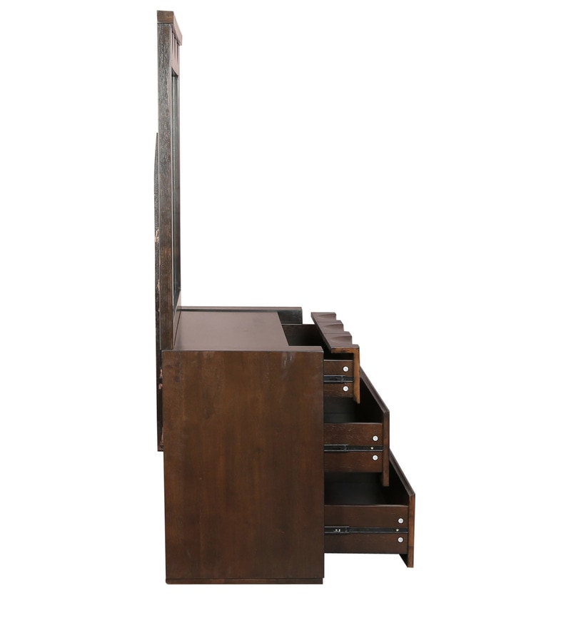 Buy Enrique Dressing Table Wth Mirror in Wenge Colour by HomeTown
