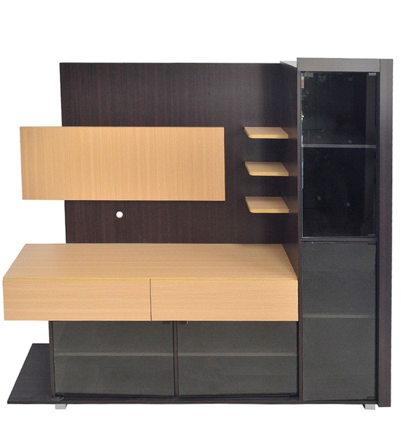 Buy LED Wall Unit in Flaming Orange & Light Yellow Laminated Drawers ...