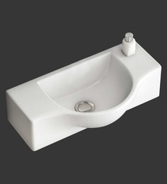 Eros Wall Hung White Ceramic Wash Basin (Model: Emiry-WB)