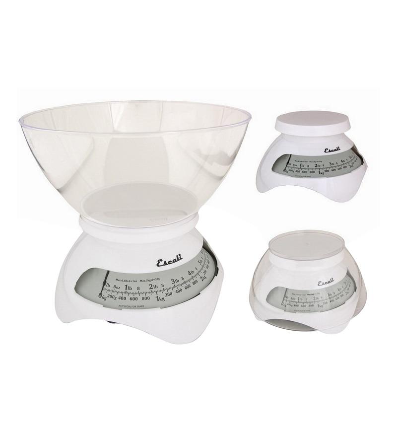 Escali Estilo Spring White Plastic Kitchen Scale