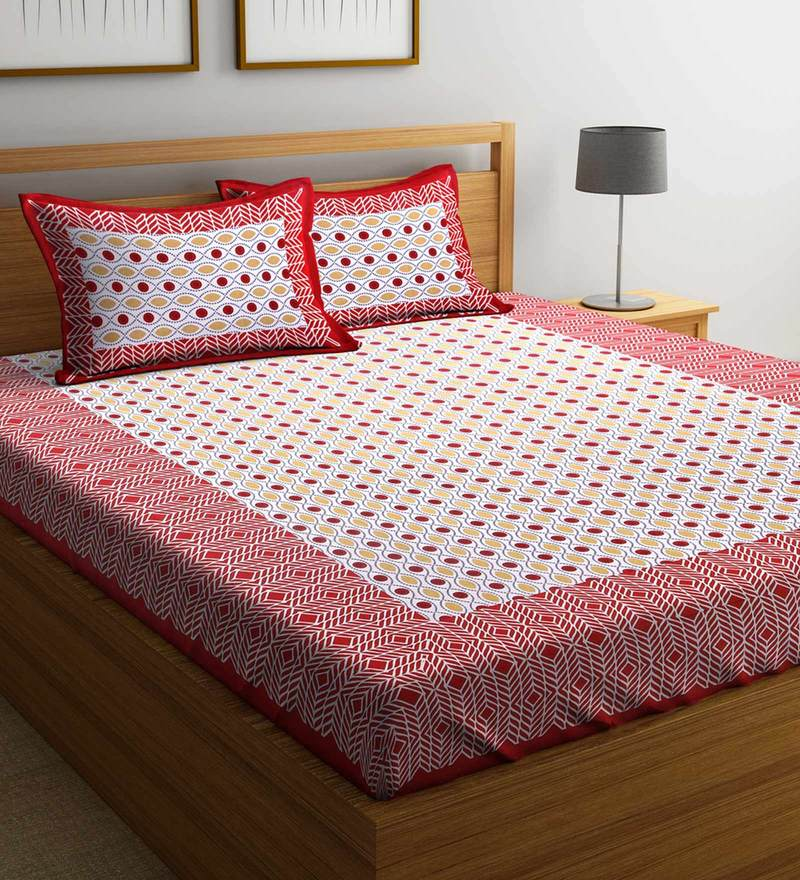 a76bd0f793d Ethnic 160 TC Double Size Bed Sheet with 2 Pillow covers by Rajasthan Decor