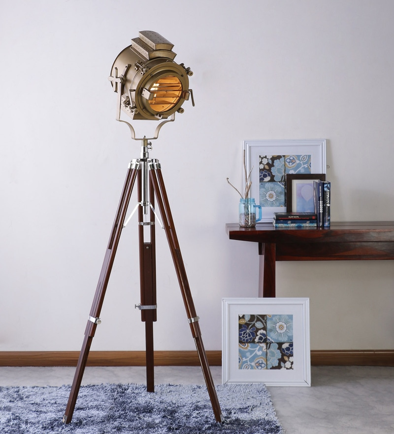 Sheesham Wood And Brass Finish Tripod Floor Lamp by Ethnic Roots