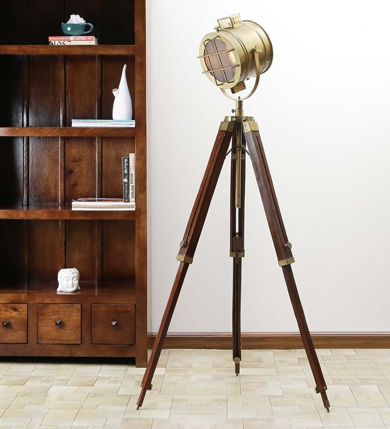Brown Brass Finish Sheesham Wood Tripod Floor Lamp by Ethnic Roots